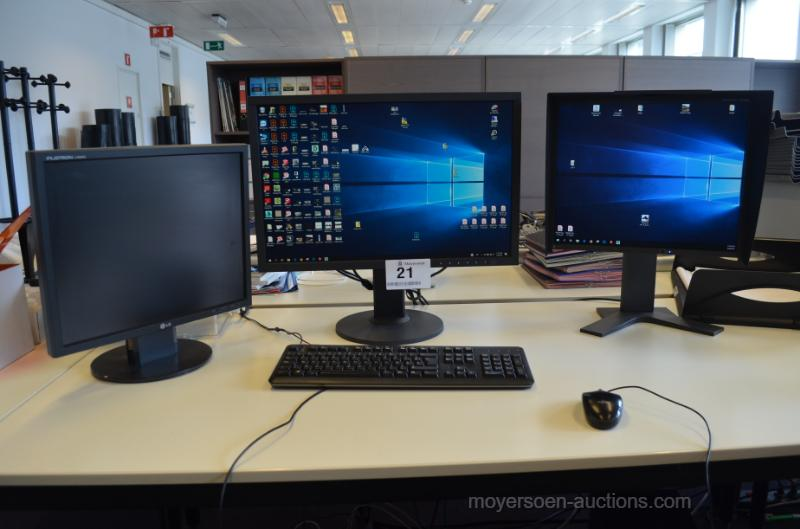 1 PC HP Z640 Equipped with 3 different monitor